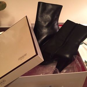 Coach Black Leather Booties